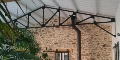 charpente métallique empannage bois porte vitrée coulissante  type industrielle